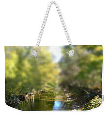 Weekender Tote Bag featuring the photograph Stream Reflections by EricaMaxine  Price