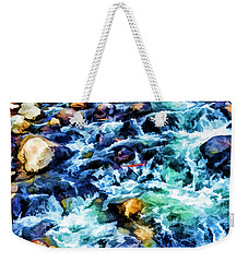 Weekender Tote Bag featuring the photograph Streaming Rapids by Nancy Marie Ricketts