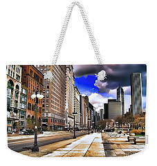 Weekender Tote Bag featuring the digital art Streets Of Chicago by Kathy Tarochione