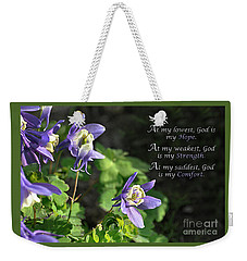 Weekender Tote Bag featuring the photograph Strength by Diane E Berry