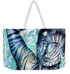 Strength In Blue Stripes, Zebra Boy #6 Weekender Tote Bag