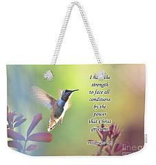 Strength Through Christ Weekender Tote Bag by Debby Pueschel
