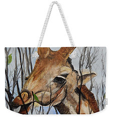 Weekender Tote Bag featuring the painting Stretch by Betty-Anne McDonald
