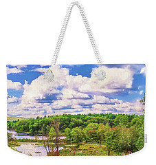 Striking Clouds Above Small Water Inlet And Green Trees Weekender Tote Bag