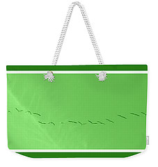 String Of Birds In Green Weekender Tote Bag