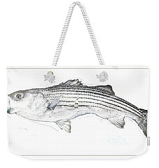Weekender Tote Bag featuring the digital art Striped Bass by A Gurmankin
