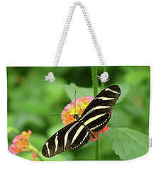 Striped Butterfly Weekender Tote Bag by Wendy McKennon