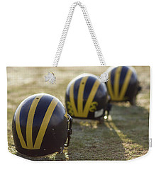 Striped Helmets On A Yard Line Weekender Tote Bag