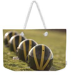 Striped Helmets On Yard Line Weekender Tote Bag