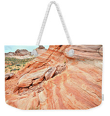 Weekender Tote Bag featuring the photograph Striped Sandstone Along Park Road In Valley Of Fire by Ray Mathis