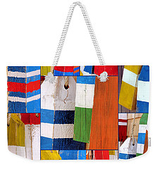 Stripes And Solid Buoys  Weekender Tote Bag