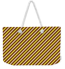 Stripes Diagonal Chocolate Banana Yellow Toffee Cream Weekender Tote Bag