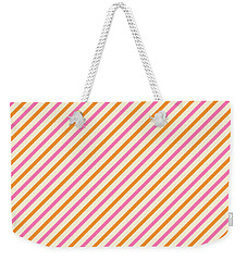 Stripes Diagonal Orange Pink Peach Simple Modern Weekender Tote Bag