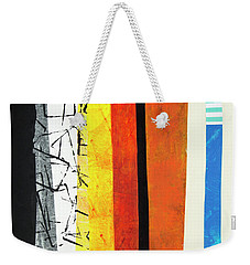 Weekender Tote Bag featuring the mixed media Stripes by Elena Nosyreva