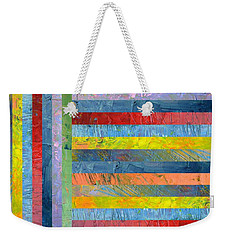 Stripes With Blue And Red Weekender Tote Bag by Michelle Calkins