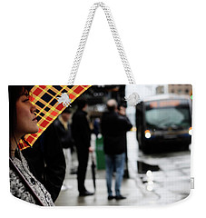Weekender Tote Bag featuring the photograph Stuck Down by Empty Wall