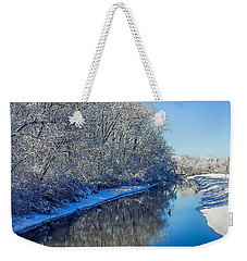Weekender Tote Bag featuring the photograph Study In Blue by Kendall McKernon