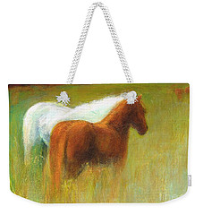 Weekender Tote Bag featuring the painting Study Of Two Ponies by Frances Marino