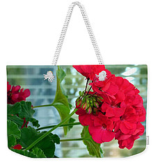 Stunning Red Geranium Weekender Tote Bag by Will Borden
