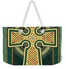 Stylized Celtic Cross In Green Weekender Tote Bag