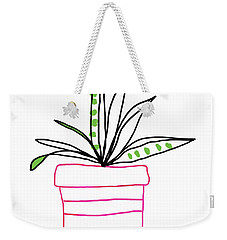 Weekender Tote Bag featuring the mixed media Succulent In A Pink Pot- Art By Linda Woods by Linda Woods