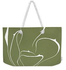 Weekender Tote Bag featuring the painting Succulent In Green by Ben Gertsberg