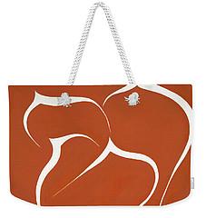 Weekender Tote Bag featuring the painting Succulent In Orange by Ben Gertsberg