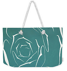 Weekender Tote Bag featuring the painting Succulent In Turquoise by Ben Gertsberg