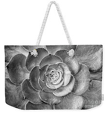 Succulent Plant Black And White Weekender Tote Bag by John  Mitchell
