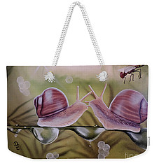 Sue And Sammy Snail Weekender Tote Bag by Dianna Lewis