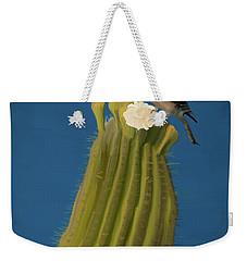 Sugaro Cactus And Cactus Wren Weekender Tote Bag by Wally Hampton