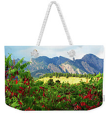 Weekender Tote Bag featuring the photograph Sumac And Flatirons 2 by Marilyn Hunt