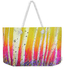 Weekender Tote Bag featuring the pastel Summer Birch  by Linde Townsend