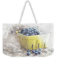 Weekender Tote Bag featuring the digital art Summer Blueberries by Sue Collura