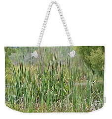 Weekender Tote Bag featuring the photograph Summer Cattails by Maria Urso