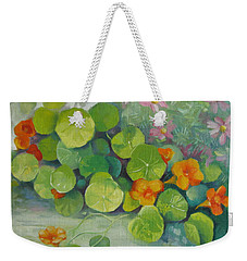 Weekender Tote Bag featuring the painting Summer Colors by Elena Oleniuc