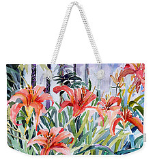 My Summer Day Liliies Weekender Tote Bag by Mindy Newman