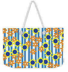 Summer Floral Stripes Blue Yellow Orange Flowers Weekender Tote Bag