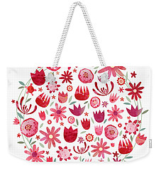 Summer Flower Circle Weekender Tote Bag by Nic Squirrell