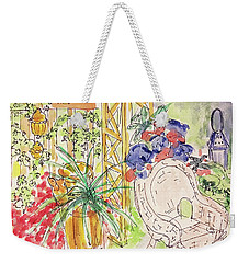 Weekender Tote Bag featuring the drawing Summer Garden by Barbara Anna Knauf