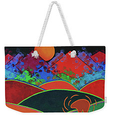 Weekender Tote Bag featuring the painting Summer Guardian Bear by Jeanette French