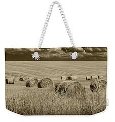 Summer Harvest Field With Hay Bales In Sepia Weekender Tote Bag by Randall Nyhof