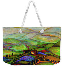Weekender Tote Bag featuring the painting Summer Hills by Rae Chichilnitsky