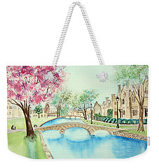 Weekender Tote Bag featuring the painting Summer In Bourton by Elizabeth Lock