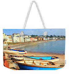Weekender Tote Bag featuring the painting Summer In Dawlish by Chris Armytage