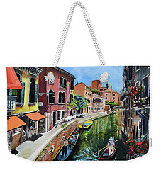 Weekender Tote Bag featuring the painting Summer In Venice - Venezia - Dreaming Of Italy by Jan Dappen