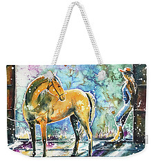 Weekender Tote Bag featuring the painting Summer Morning At The Barn by Zaira Dzhaubaeva