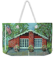 Summer Morning At Trapelo Road Fire Station Weekender Tote Bag by Rita Brown