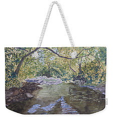 Weekender Tote Bag featuring the painting Summer On The South Tow River by Joel Deutsch