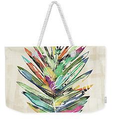 Weekender Tote Bag featuring the mixed media Summer Palm Leaf- Art By Linda Woods by Linda Woods